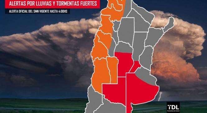 Mapa difundido por Tormentas del Litoral. En la zona roja rige el alerta por tormentas severas.