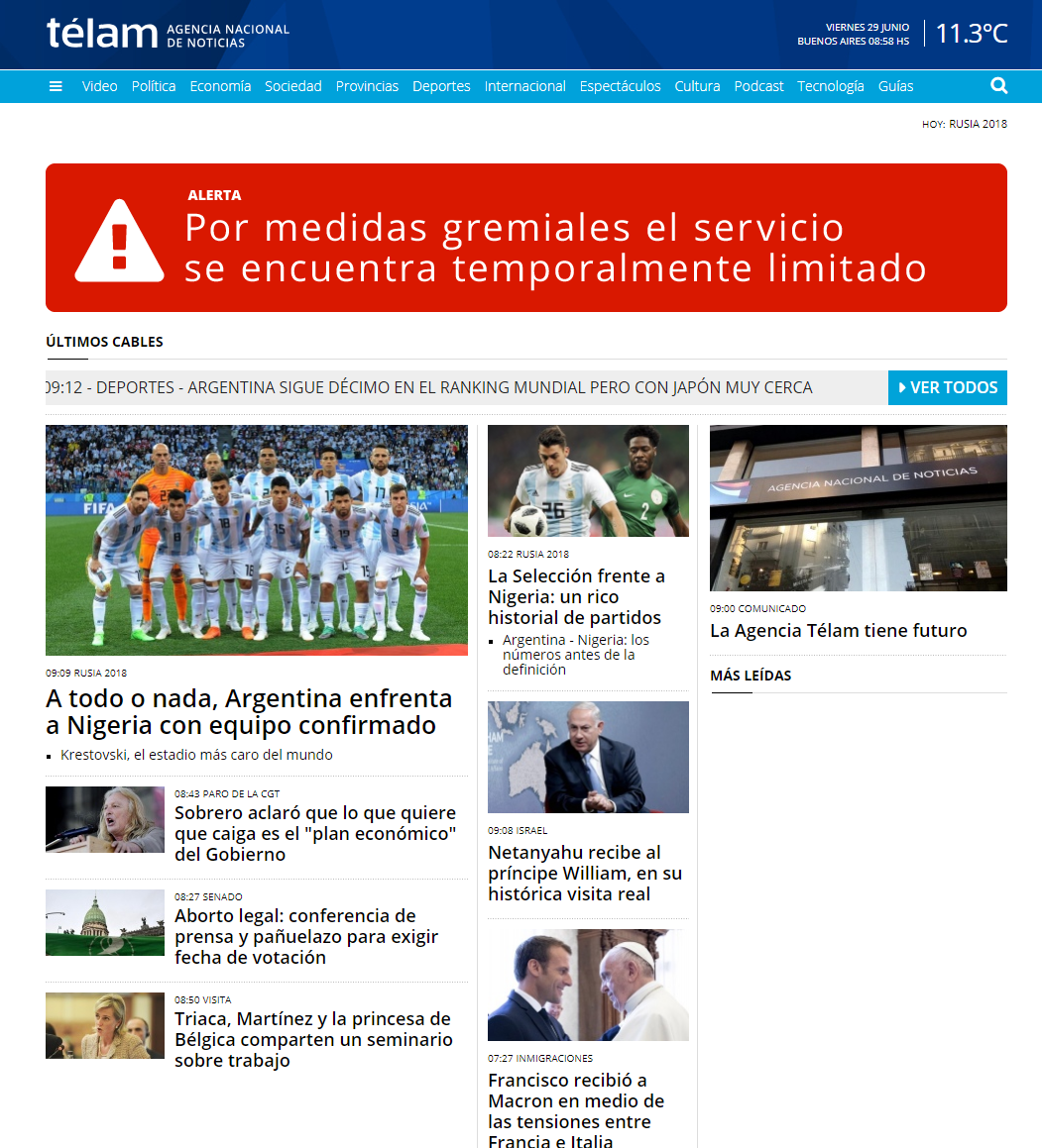 La web de Telam sigue inactiva por la protesta de los trabajadores ante el brutal recorte
