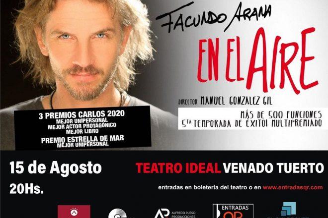 Vuelve el teatro en el Ideal con la reprogramada obra de Facundo Arana